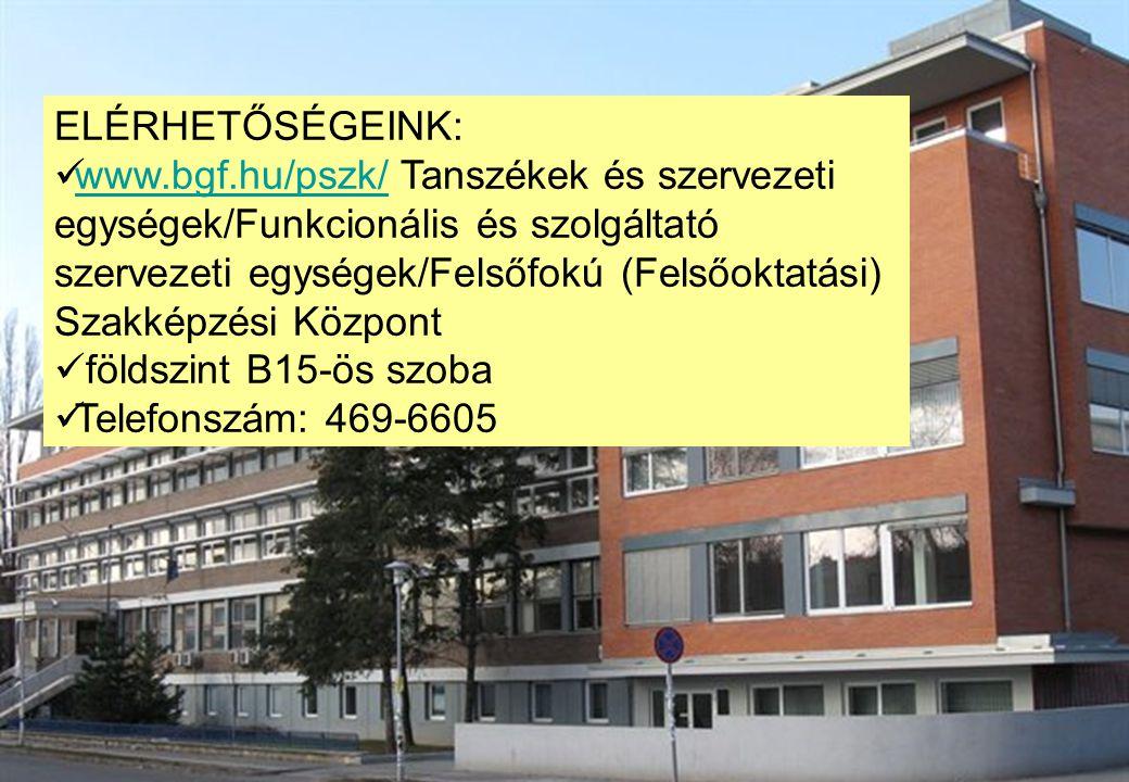 ELÉRHETŐSÉGEINK: www.bgf.hu/pszk/ Tanszékek és szervezeti egységek/Funkcionális és szolgáltató szervezeti egységek/Felsőfokú (Felsőoktatási) Szakképzé