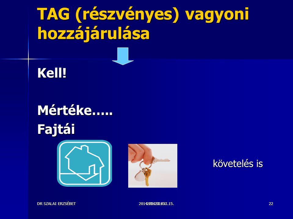 2014.III.2014.II.15.DR SZALAI ERZSÉBET2014.II.15.22 TAG (részvényes) vagyoni hozzájárulása Kell!Mértéke…..Fajtái követelés is