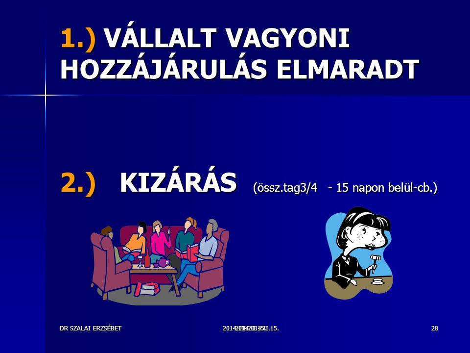 2014.III.2014.II.15.DR SZALAI ERZSÉBET2014.II.15.28 1.) VÁLLALT VAGYONI HOZZÁJÁRULÁS ELMARADT 2.) KIZÁRÁS (össz.tag3/4 - 15 napon belül-cb.)