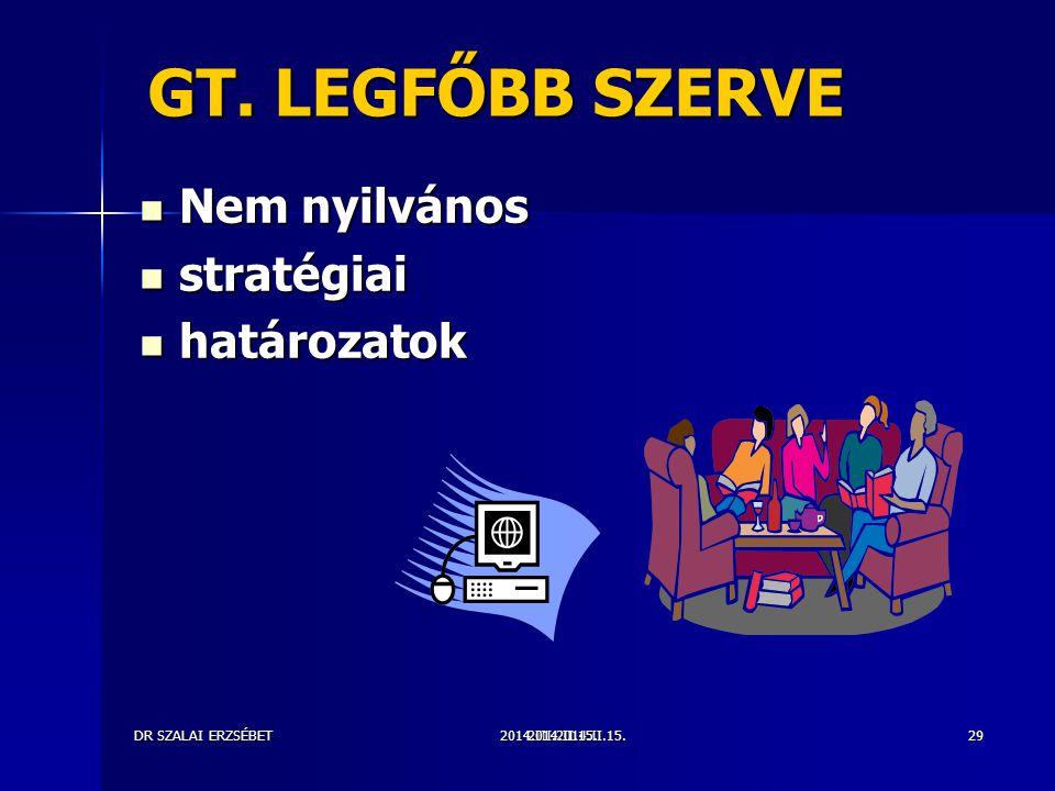 2014.III.2014.II.15.DR SZALAI ERZSÉBET2014.II.15.29 GT. LEGFŐBB SZERVE Nem nyilvános Nem nyilvános stratégiai stratégiai határozatok határozatok