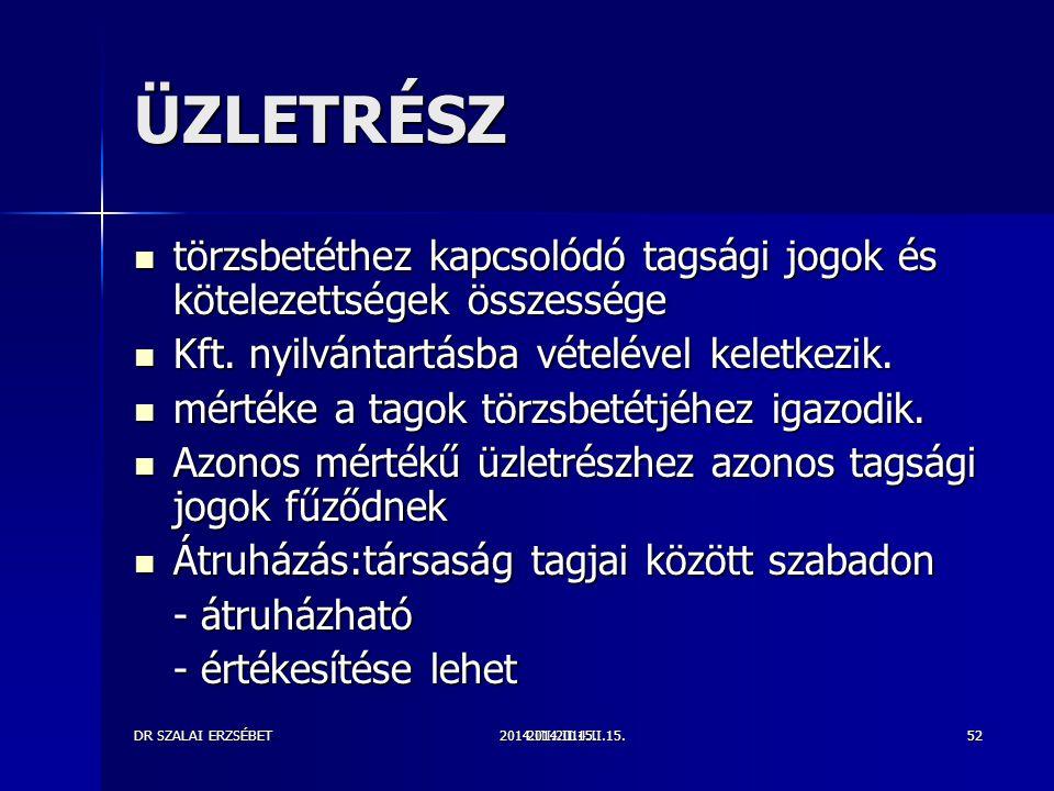 2014.III.2014.II.15.DR SZALAI ERZSÉBET2014.II.15.52 ÜZLETRÉSZ törzsbetéthez kapcsolódó tagsági jogok és kötelezettségek összessége törzsbetéthez kapcsolódó tagsági jogok és kötelezettségek összessége Kft.
