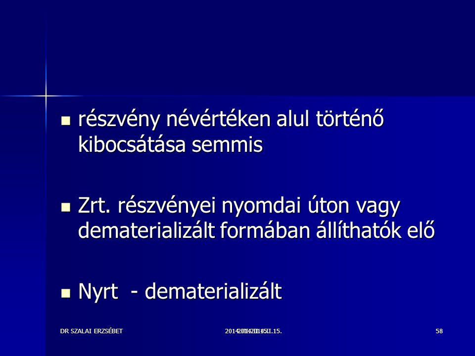 2014.III.2014.II.15.DR SZALAI ERZSÉBET2014.II.15.58 részvény névértéken alul történő kibocsátása semmis részvény névértéken alul történő kibocsátása s