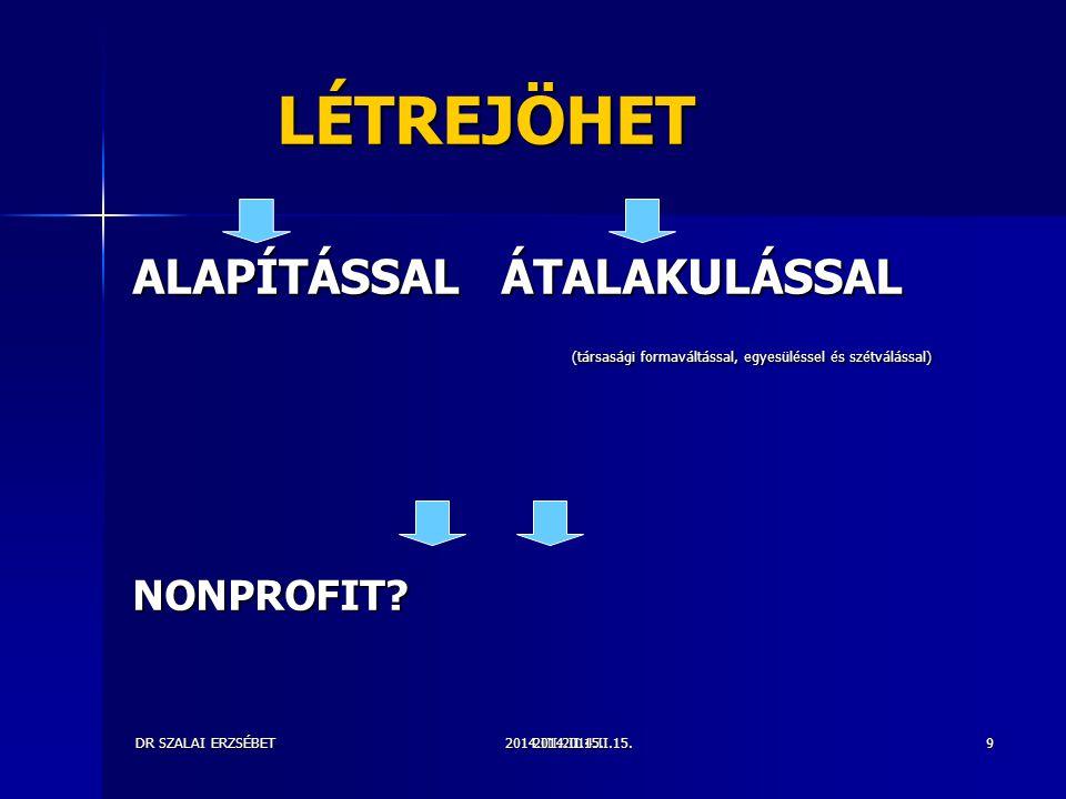 2014.III.2014.II.15.DR SZALAI ERZSÉBET2014.II.15.9 LÉTREJÖHET LÉTREJÖHET ALAPÍTÁSSAL ÁTALAKULÁSSAL (társasági formaváltással, egyesüléssel és szétválással) (társasági formaváltással, egyesüléssel és szétválással)NONPROFIT?