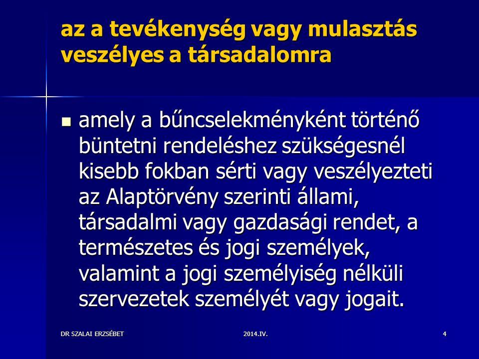 2014.IV.DR SZALAI ERZSÉBET4 az a tevékenység vagy mulasztás veszélyes a társadalomra amely a bűncselekményként történő büntetni rendeléshez szükségesn