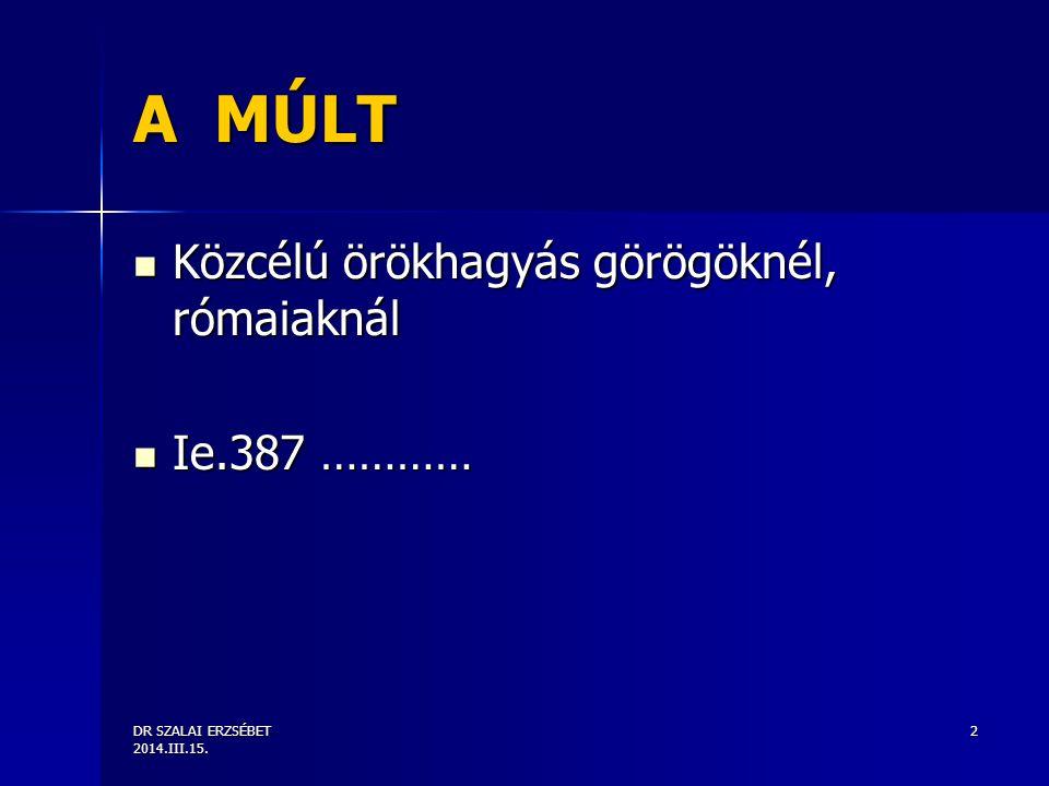 DR SZALAI ERZSÉBET 2014.III.15.3 SZABÁLYOZÁSA 2011.
