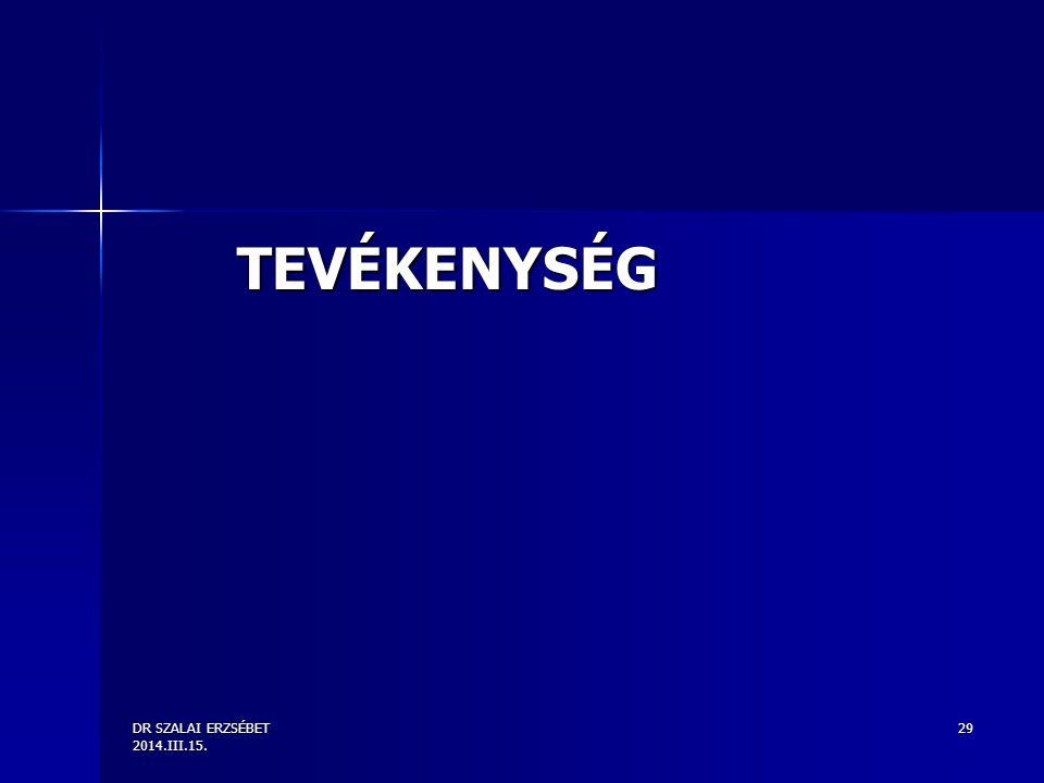 DR SZALAI ERZSÉBET 2014.III.15. 29 TEVÉKENYSÉG
