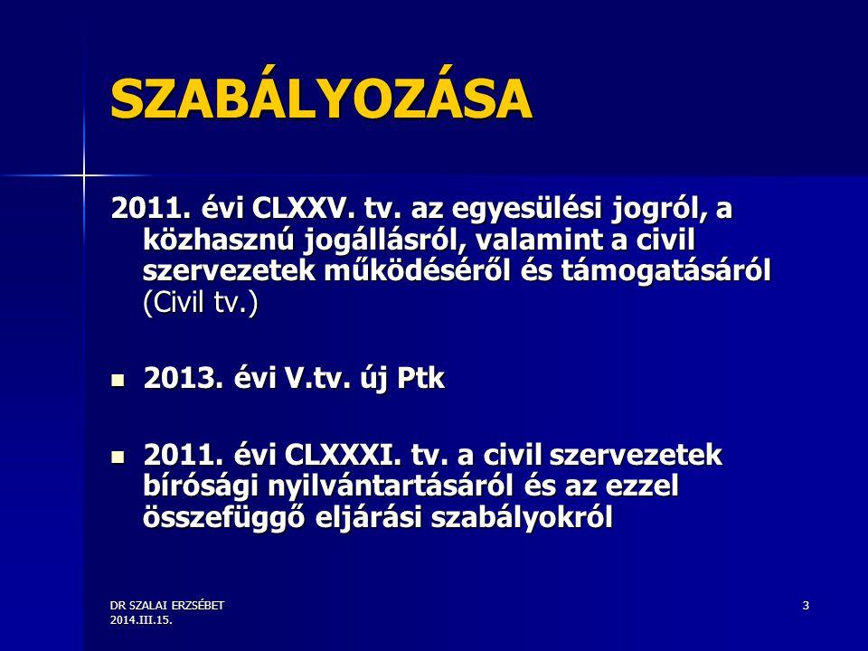 DR SZALAI ERZSÉBET 2014.III.15. 3 SZABÁLYOZÁSA 2011.