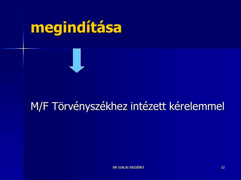 DR SZALAI ERZSÉBET12 megindítása M/F Törvényszékhez intézett kérelemmel