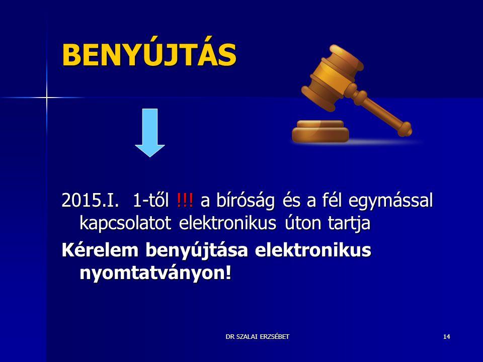 DR SZALAI ERZSÉBET14 BENYÚJTÁS 2015.I. 1-től !!! a bíróság és a fél egymással kapcsolatot elektronikus úton tartja Kérelem benyújtása elektronikus nyo
