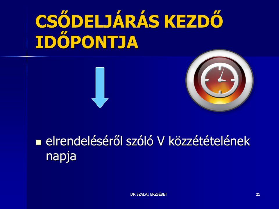 DR SZALAI ERZSÉBET21 CSŐDELJÁRÁS KEZDŐ IDŐPONTJA elrendeléséről szóló V közzétételének napja elrendeléséről szóló V közzétételének napja