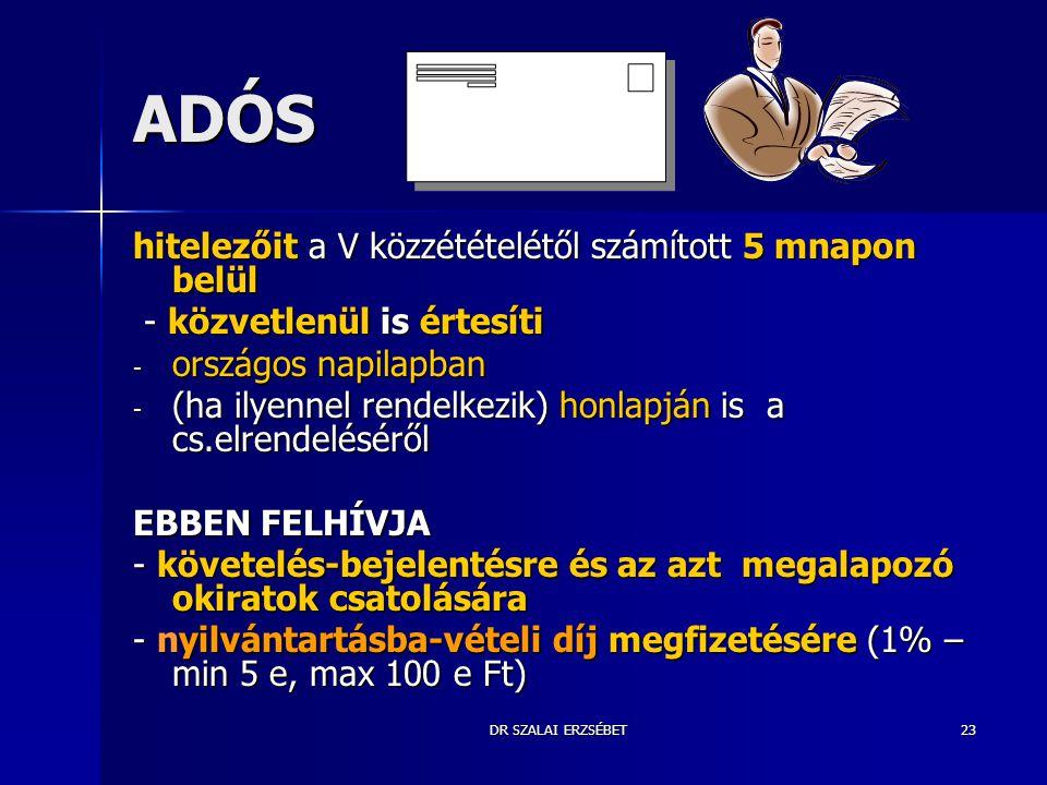 DR SZALAI ERZSÉBET23 ADÓS hitelezőit a V közzétételétől számított 5 mnapon belül - közvetlenül is értesíti - közvetlenül is értesíti - országos napila
