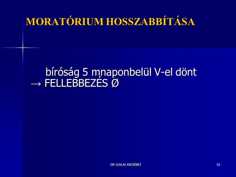 DR SZALAI ERZSÉBET33 MORATÓRIUM HOSSZABBÍTÁSA bíróság 5 mnaponbelül V-el dönt → FELLEBBEZÉS Ø