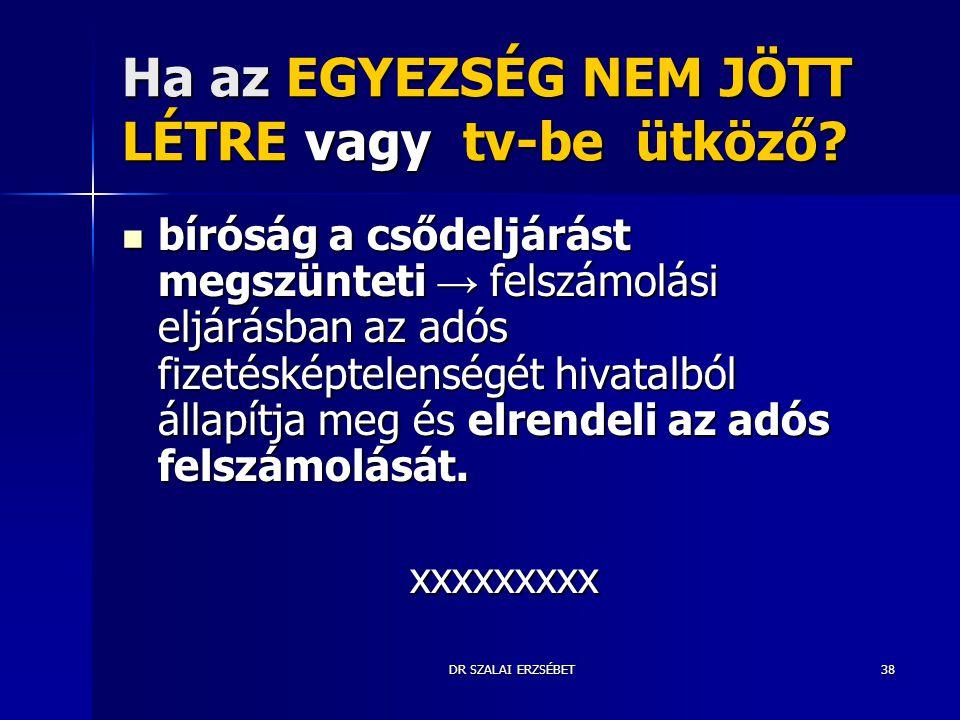 DR SZALAI ERZSÉBET38 Ha az EGYEZSÉG NEM JÖTT LÉTRE vagy tv-be ütköző? bíróság a csődeljárást megszünteti → felszámolási eljárásban az adós fizetésképt
