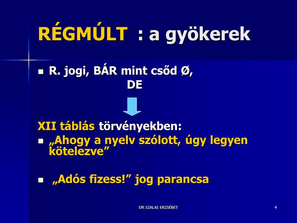 """DR SZALAI ERZSÉBET4 RÉGMÚLT : a gyökerek R. jogi, BÁR mint csőd Ø, R. jogi, BÁR mint csőd Ø, DE DE XII táblás törvényekben: """"Ahogy a nyelv szólott, úg"""