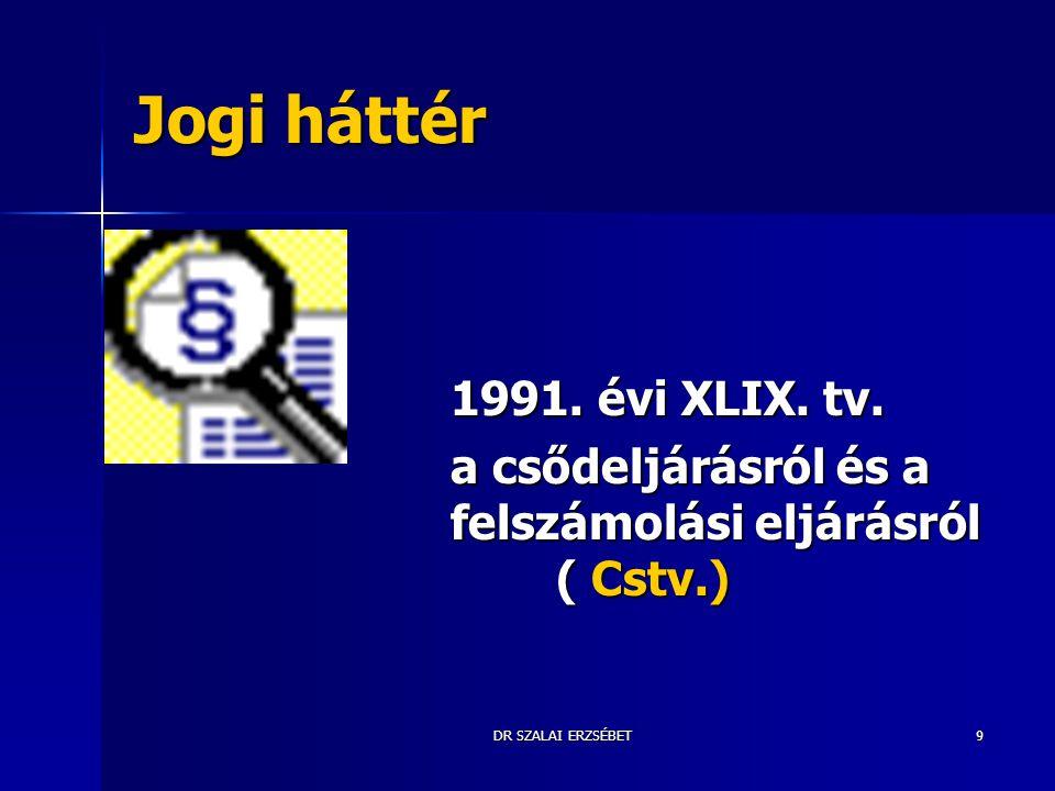 DR SZALAI ERZSÉBET9 Jogi háttér 1991. évi XLIX. tv. a csődeljárásról és a felszámolási eljárásról ( Cstv.)