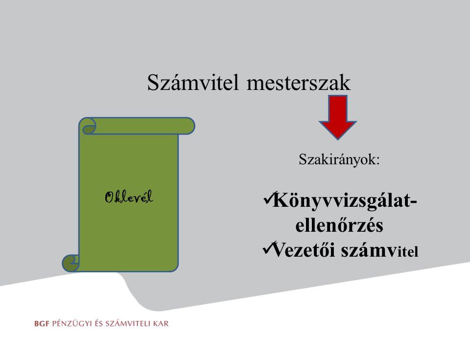 Számvitel mesterszak Szakirányok: Könyvvizsgálat- ellenőrzés Vezetői számv itel Oklevél