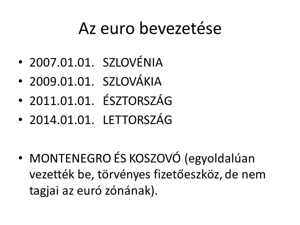 Az euro bevezetése 2007.01.01. SZLOVÉNIA 2009.01.01. SZLOVÁKIA 2011.01.01. ÉSZTORSZÁG 2014.01.01. LETTORSZÁG MONTENEGRO ÉS KOSZOVÓ (egyoldalúan vezett