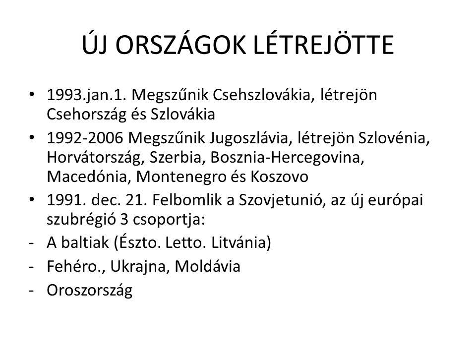 A tárgyalt országok csoportosítása 1/ A visegrádi négyek 2/ A jugoszláv utódállamok.