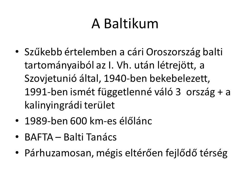 A Baltikum Szűkebb értelemben a cári Oroszország balti tartományaiból az I. Vh. után létrejött, a Szovjetunió által, 1940-ben bekebelezett, 1991-ben i