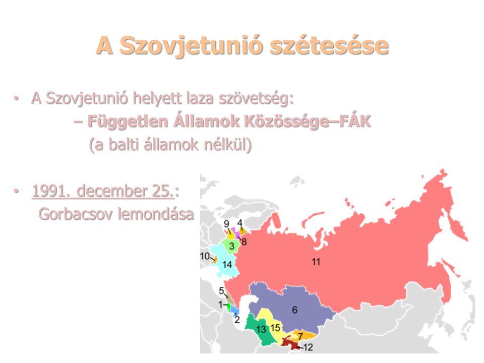 A Szovjetunió szétesése A Szovjetunió helyett laza szövetség: A Szovjetunió helyett laza szövetség: – Független Államok Közössége–FÁK – Független Álla