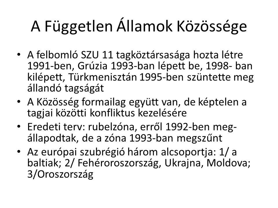 A Független Államok Közössége A felbomló SZU 11 tagköztársasága hozta létre 1991-ben, Grúzia 1993-ban lépett be, 1998- ban kilépett, Türkmenisztán 199