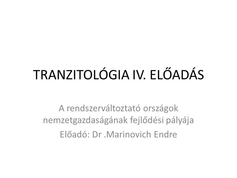 TRANZITOLÓGIA IV. ELŐADÁS A rendszerváltoztató országok nemzetgazdaságának fejlődési pályája Előadó: Dr.Marinovich Endre