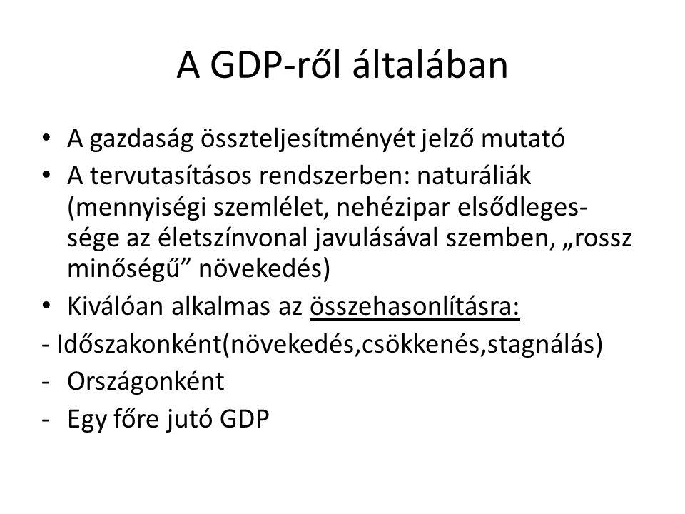 A GDP-ről általában A gazdaság összteljesítményét jelző mutató A tervutasításos rendszerben: naturáliák (mennyiségi szemlélet, nehézipar elsődleges- s