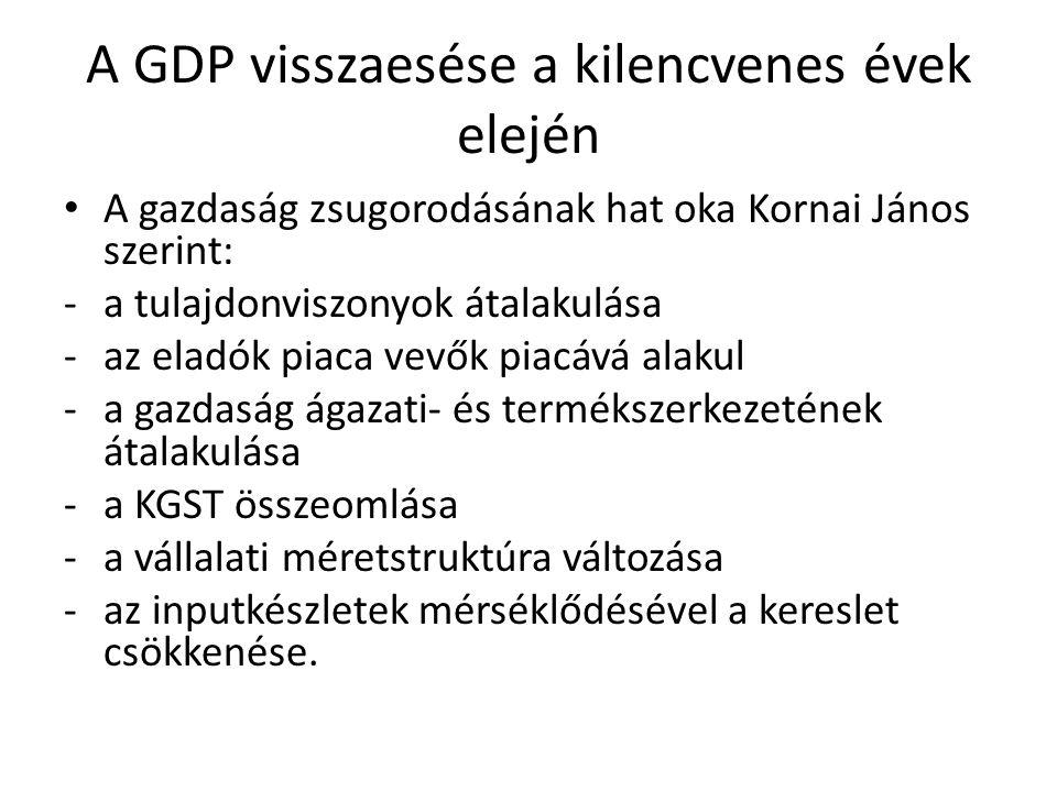 A GDP visszaesése a kilencvenes évek elején A gazdaság zsugorodásának hat oka Kornai János szerint: -a tulajdonviszonyok átalakulása -az eladók piaca