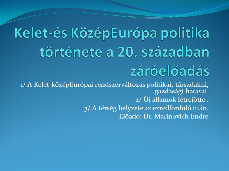 1/ A Kelet-középEurópai rendszerváltozás politikai, társadalmi, gazdasági hatásai. 2/ Új államok létrejötte. 3/ A térség helyzete az ezredforduló után