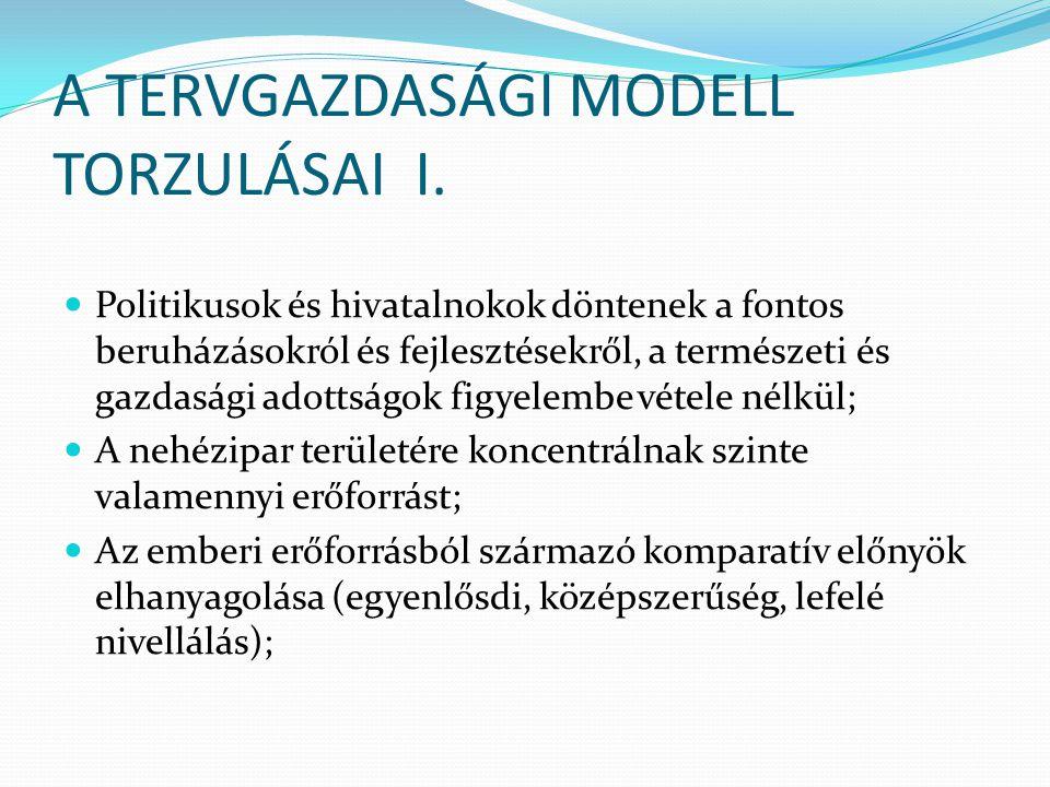 A TERVGAZDASÁGI MODELL TORZULÁSAI II.