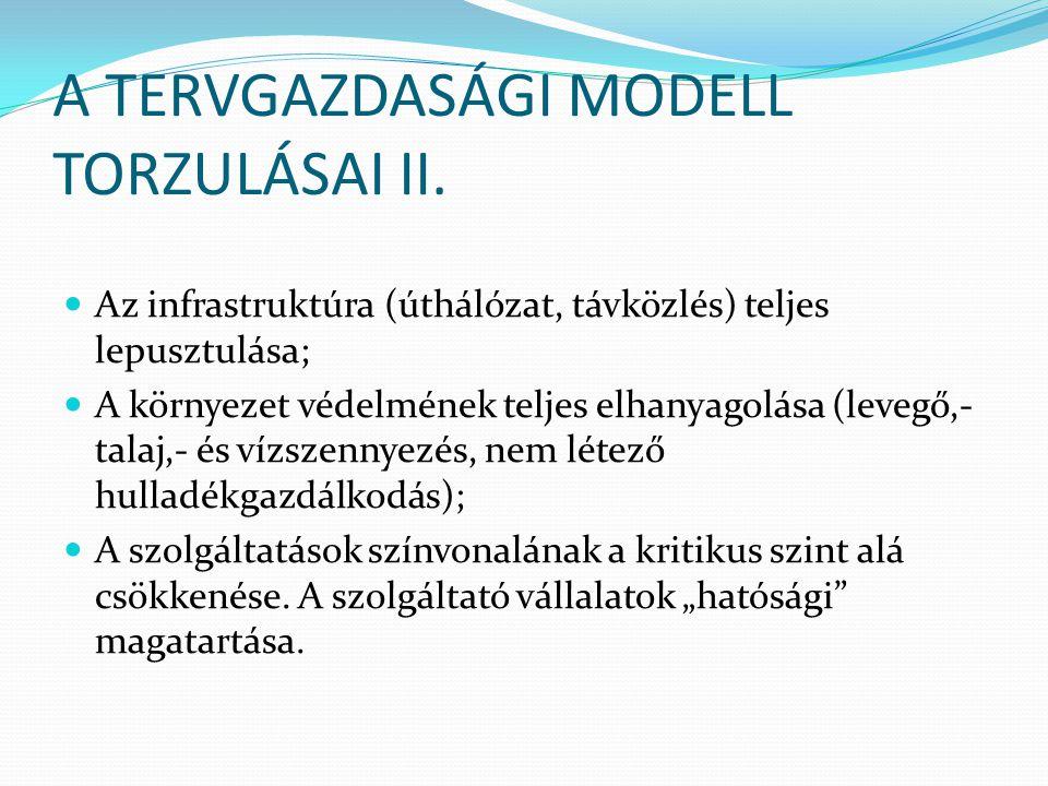 A TERVGAZDASÁGI MODELL TORZULÁSAI II. Az infrastruktúra (úthálózat, távközlés) teljes lepusztulása; A környezet védelmének teljes elhanyagolása (leveg