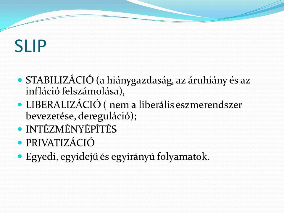 SLIP STABILIZÁCIÓ (a hiánygazdaság, az áruhiány és az infláció felszámolása), LIBERALIZÁCIÓ ( nem a liberális eszmerendszer bevezetése, dereguláció);