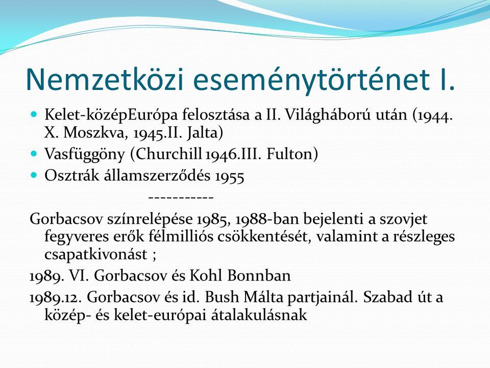 Nemzetközi eseménytörténet I. Kelet-középEurópa felosztása a II. Világháború után (1944. X. Moszkva, 1945.II. Jalta) Vasfüggöny (Churchill 1946.III. F