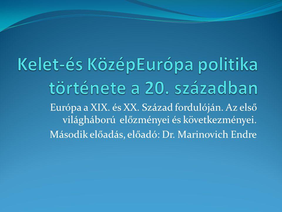 Európa a XIX. és XX. Század fordulóján. Az első világháború előzményei és következményei. Második előadás, előadó: Dr. Marinovich Endre
