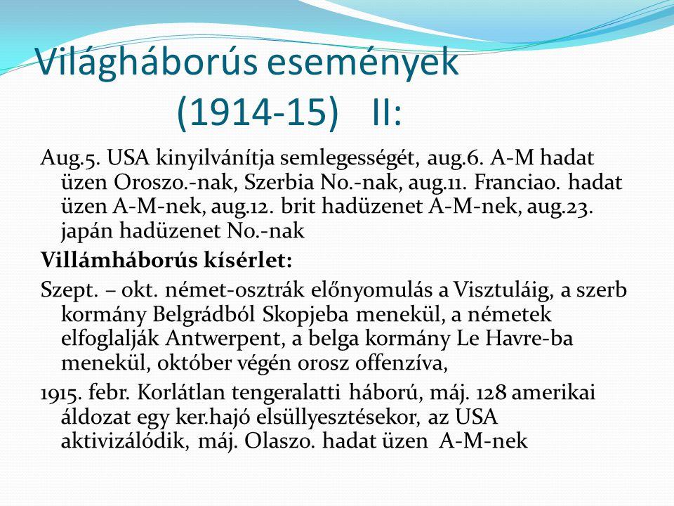 Világháborús események (1914-15) II: Aug.5. USA kinyilvánítja semlegességét, aug.6. A-M hadat üzen Oroszo.-nak, Szerbia No.-nak, aug.11. Franciao. had