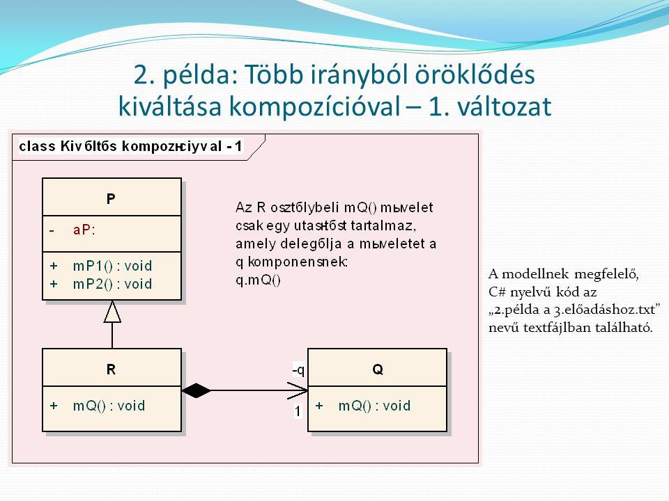 """2. példa: Több irányból öröklődés kiváltása kompozícióval – 1. változat A modellnek megfelelő, C# nyelvű kód az """"2.példa a 3.előadáshoz.txt"""" nevű text"""