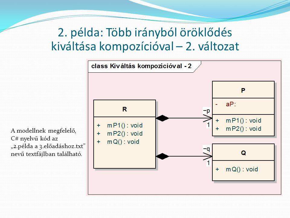 """2. példa: Több irányból öröklődés kiváltása kompozícióval – 2. változat A modellnek megfelelő, C# nyelvű kód az """"2.példa a 3.előadáshoz.txt"""" nevű text"""