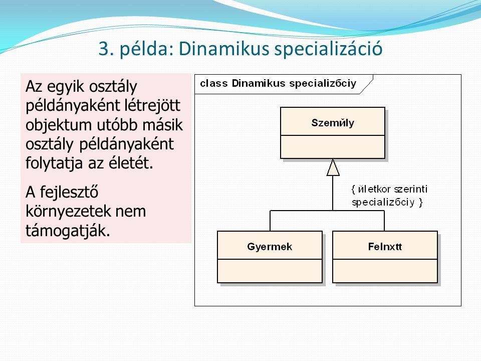 Az egyik osztály példányaként létrejött objektum utóbb másik osztály példányaként folytatja az életét. A fejlesztő környezetek nem támogatják. 3. péld