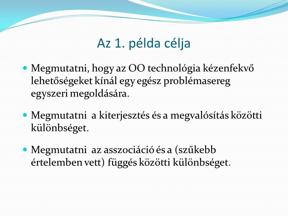Az 1. példa célja Megmutatni, hogy az OO technológia kézenfekvő lehetőségeket kínál egy egész problémasereg egyszeri megoldására. Megmutatni a kiterje