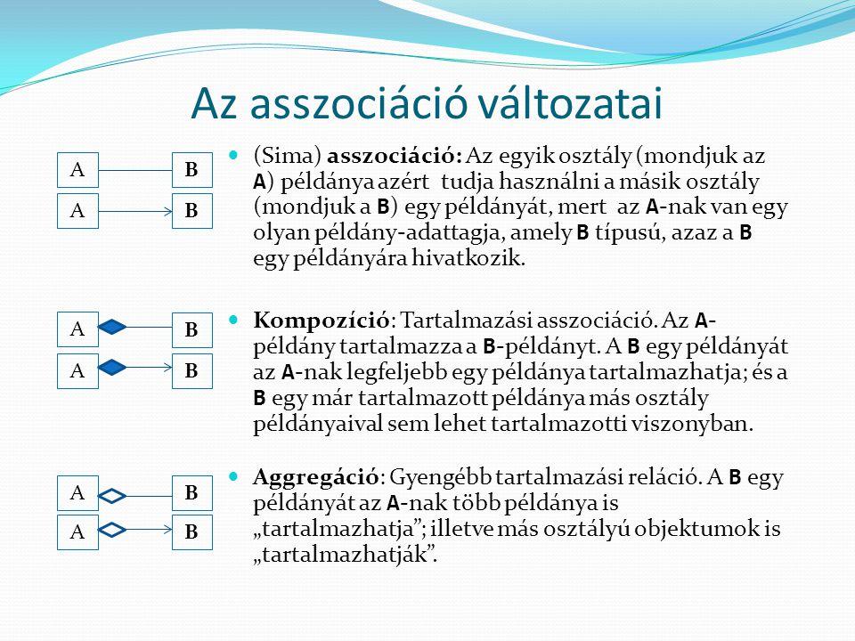 Az asszociáció változatai (Sima) asszociáció: Az egyik osztály (mondjuk az A ) példánya azért tudja használni a másik osztály (mondjuk a B ) egy példá