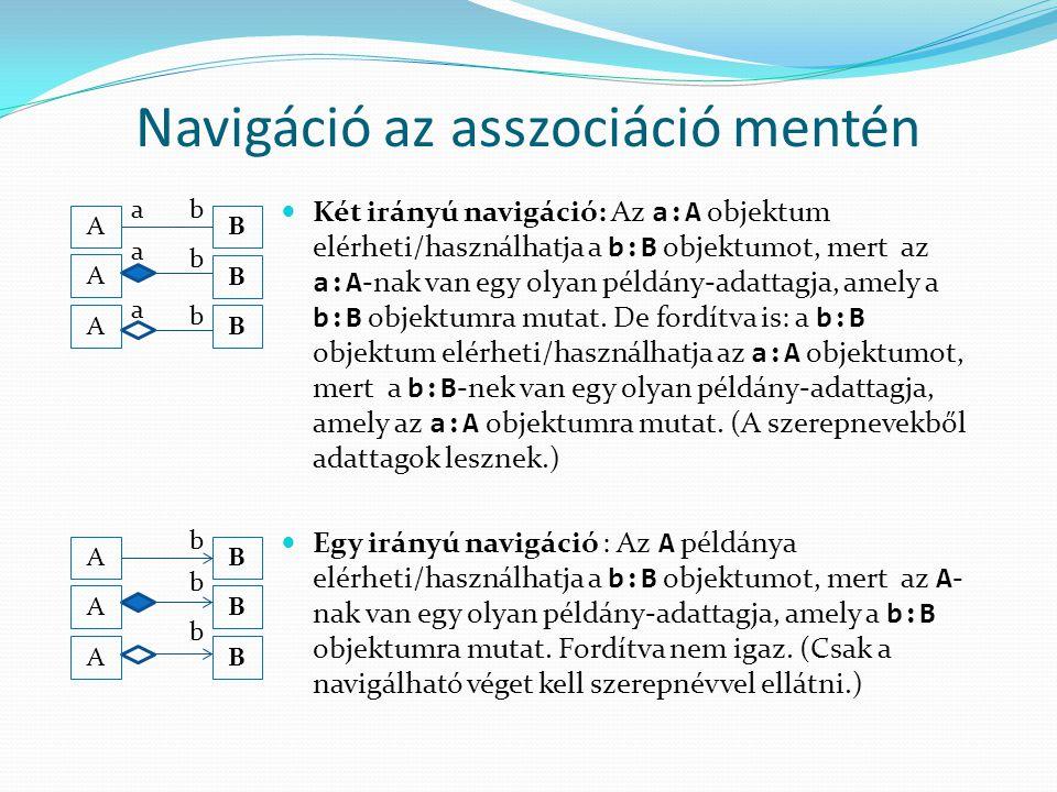Navigáció az asszociáció mentén Két irányú navigáció: Az a:A objektum elérheti/használhatja a b:B objektumot, mert az a:A -nak van egy olyan példány-a