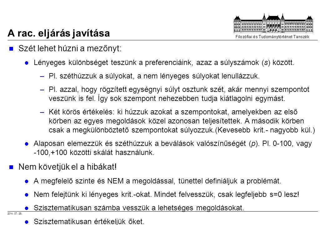 2014. 07. 28. A rac. eljárás javítása Szét lehet húzni a mezőnyt: Lényeges különbséget teszünk a preferenciáink, azaz a súlyszámok (s) között. –Pl. sz