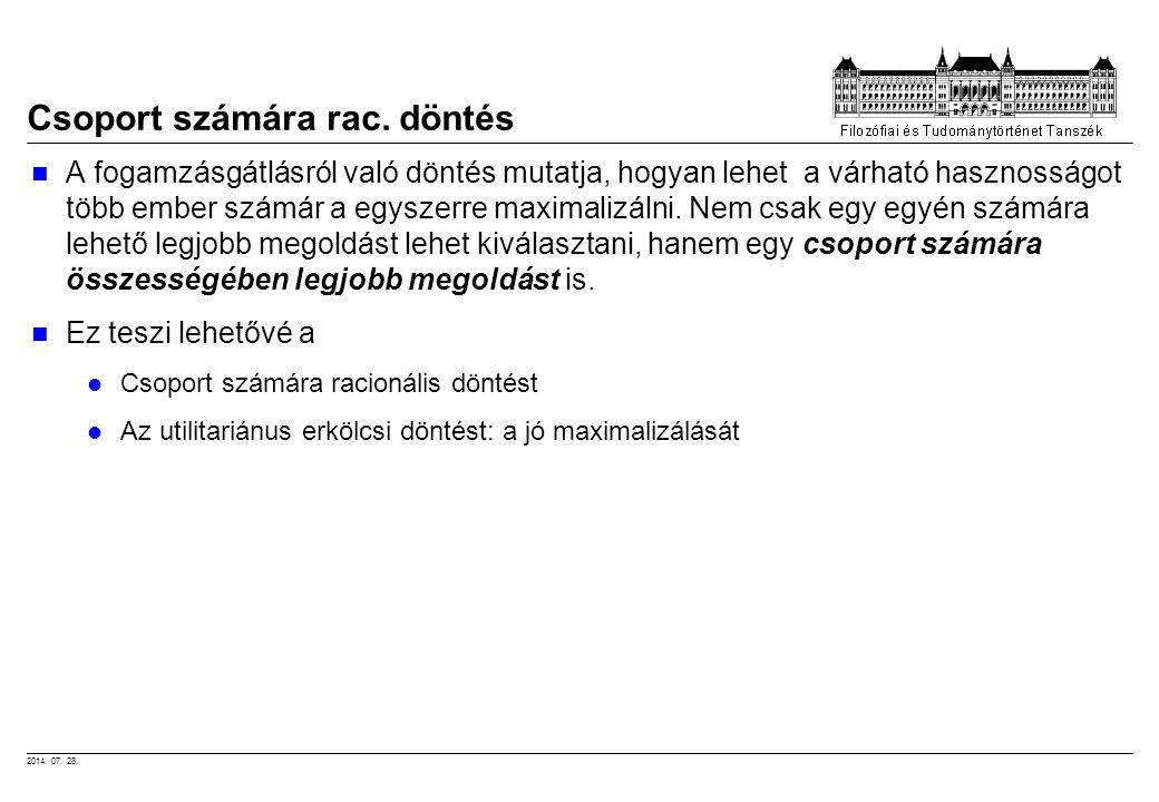2014. 07. 28. Csoport számára rac. döntés A fogamzásgátlásról való döntés mutatja, hogyan lehet a várható hasznosságot több ember számár a egyszerre m