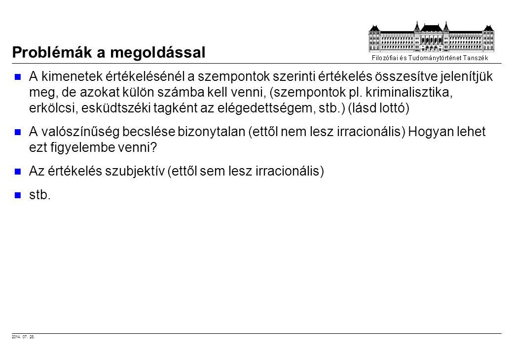 2014. 07. 28. Problémák a megoldással A kimenetek értékelésénél a szempontok szerinti értékelés összesítve jelenítjük meg, de azokat külön számba kell