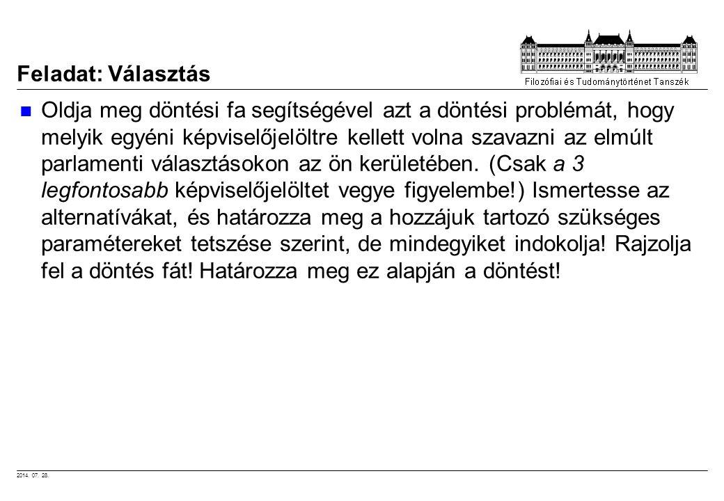 2014. 07. 28. Feladat: Választás Oldja meg döntési fa segítségével azt a döntési problémát, hogy melyik egyéni képviselőjelöltre kellett volna szavazn
