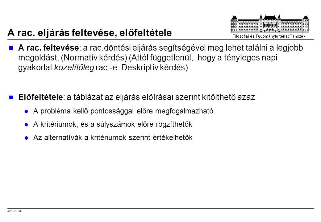 2014. 07. 28. A rac. eljárás feltevése, előfeltétele A rac. feltevése: a rac.döntési eljárás segítségével meg lehet találni a legjobb megoldást. (Norm