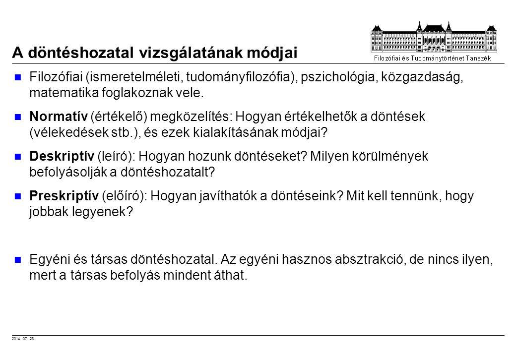 2014. 07. 28. A döntéshozatal vizsgálatának módjai Filozófiai (ismeretelméleti, tudományfilozófia), pszichológia, közgazdaság, matematika foglakoznak