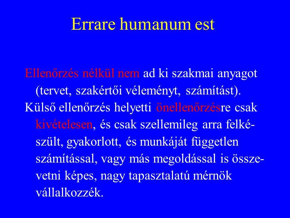 Errare humanum est Ellenőrzés nélkül nem ad ki szakmai anyagot (tervet, szakértői véleményt, számítást). Külső ellenőrzés helyetti önellenőrzésre csak