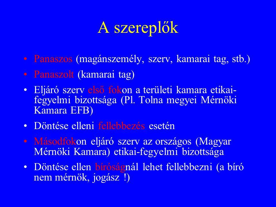 A szereplők Panaszos (magánszemély, szerv, kamarai tag, stb.) Panaszolt (kamarai tag) Eljáró szerv első fokon a területi kamara etikai- fegyelmi bizot