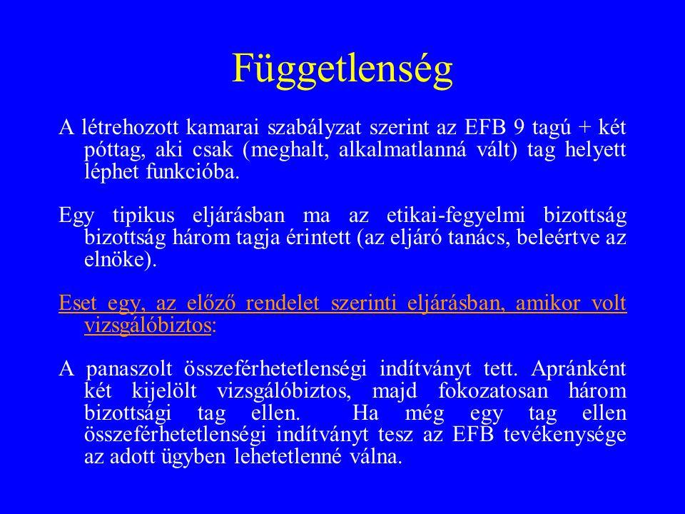 Függetlenség A létrehozott kamarai szabályzat szerint az EFB 9 tagú + két póttag, aki csak (meghalt, alkalmatlanná vált) tag helyett léphet funkcióba.